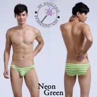 新品熒光彩色條紋性感低腰男士三角底褲 內褲 內著 男裝內衣